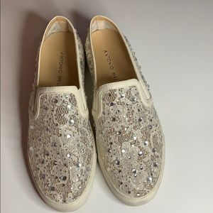 Antonio Melani white slip on shoes